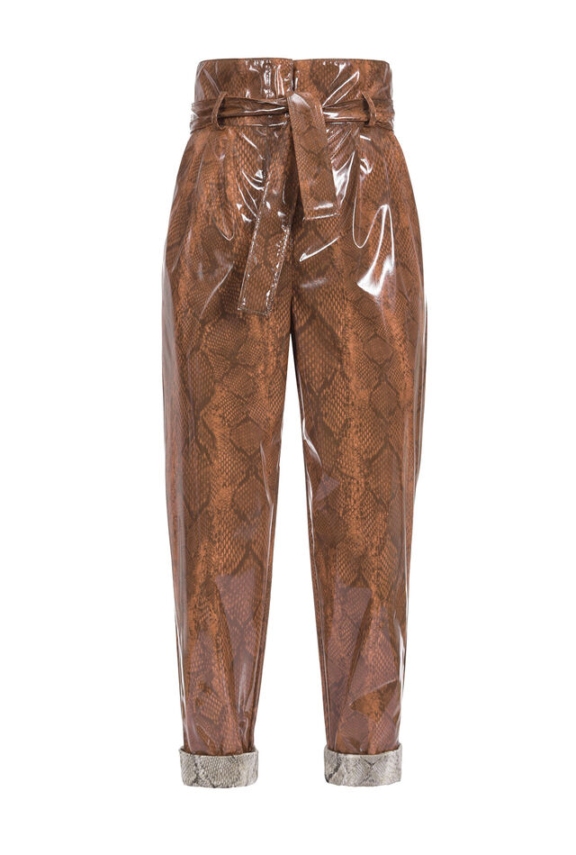Pantaloni carrot fit a stampa snake color lucida