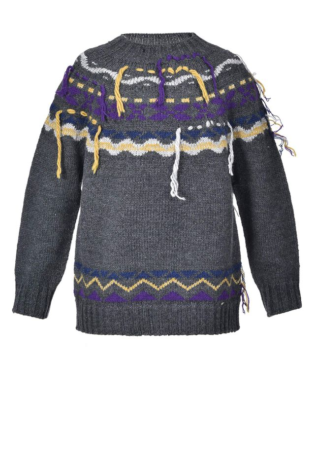 Jacquard jumper with tricot fringes