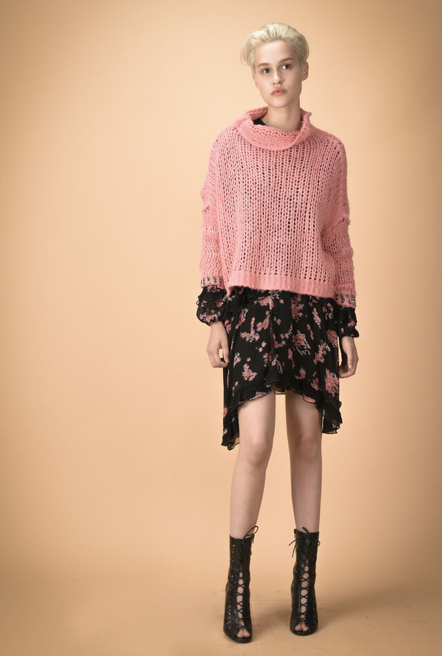 Wool sweater with rhinestones
