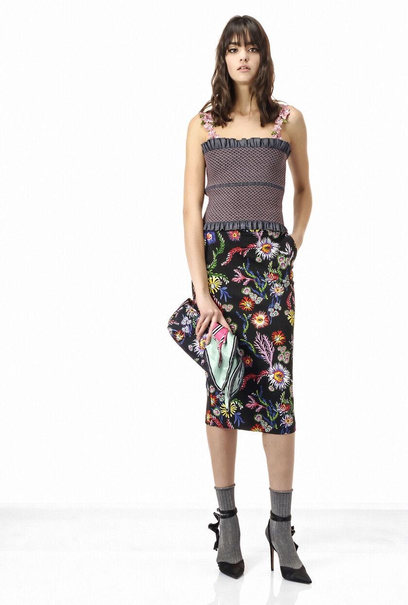 Printed neoprene pencil skirt