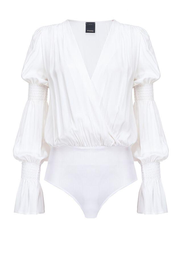 Crepe de chine bodysuit blouse