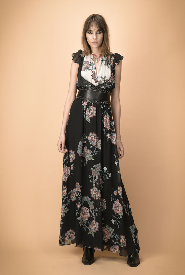 Georgette maxi dress with floral pattern