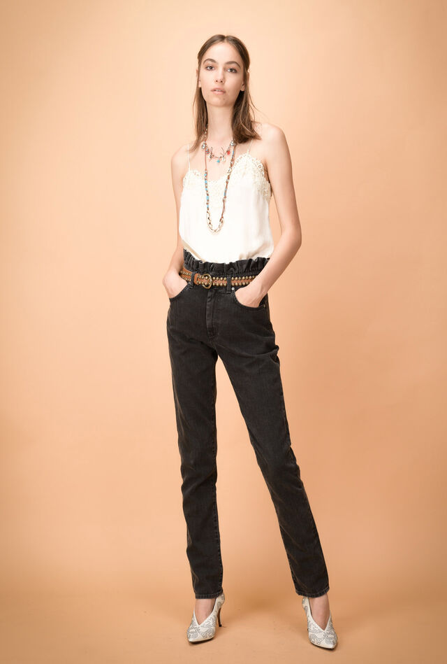 High-waisted jeans with scalloped waist