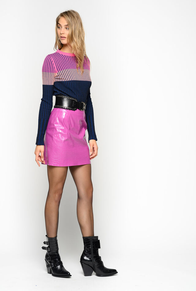Crocodile-print mini skirt