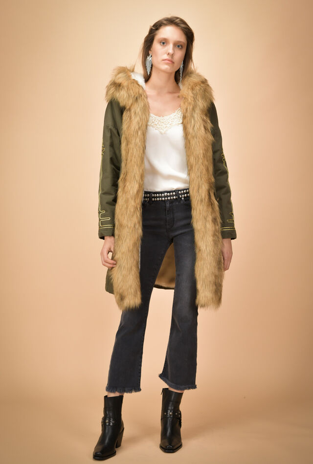 Padded parka with faux fur inserts