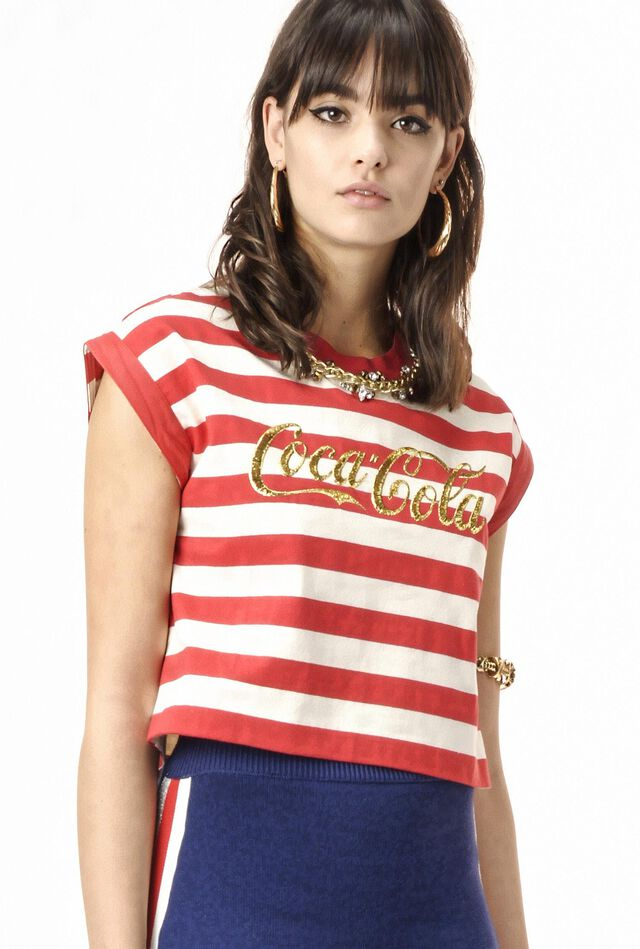 Striped heavy jersey T-shirt with embroidery and stones