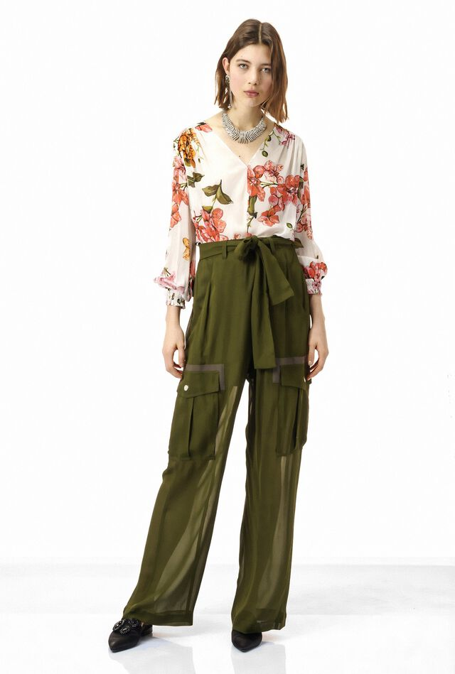 Cargo pants in viscose georgette