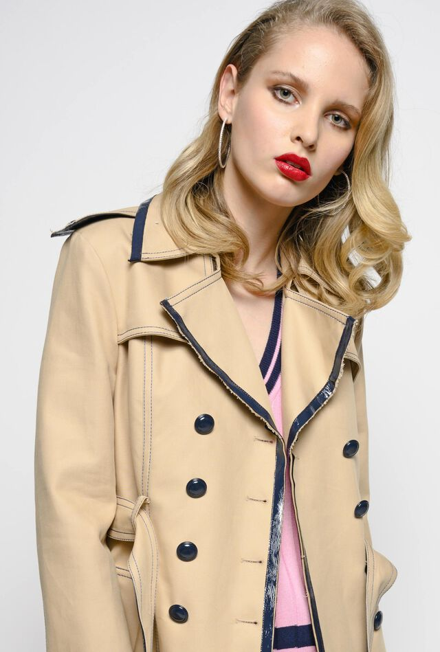 Cotton drill trench coat
