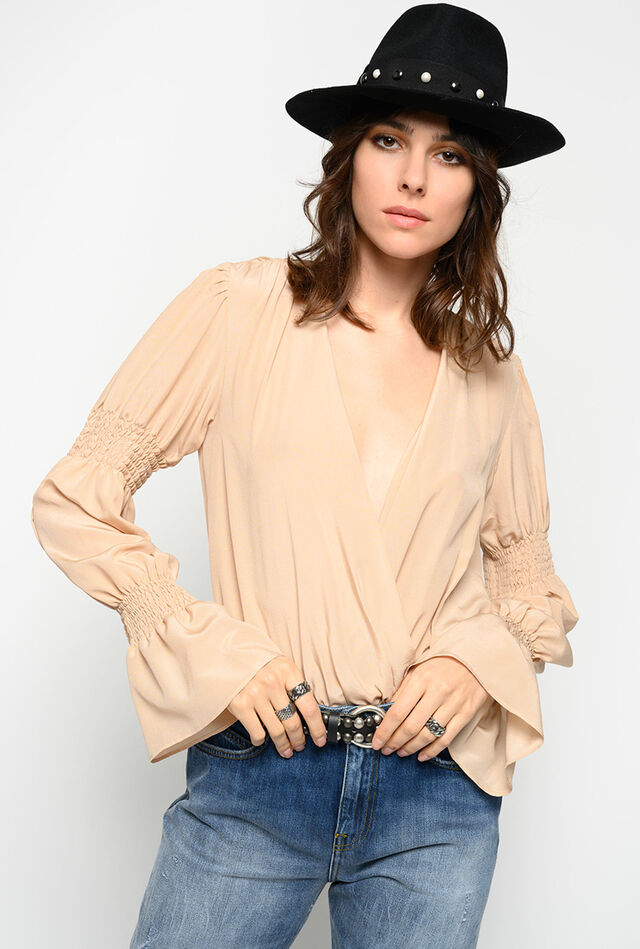 Silk crepe de chine bodysuit blouse