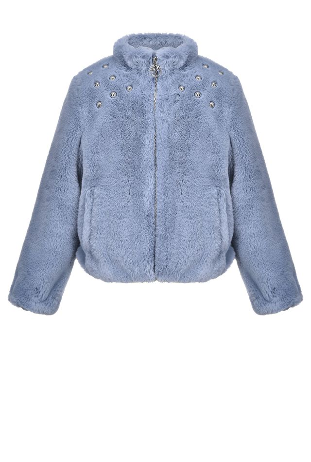 Fur effect jacket with studs