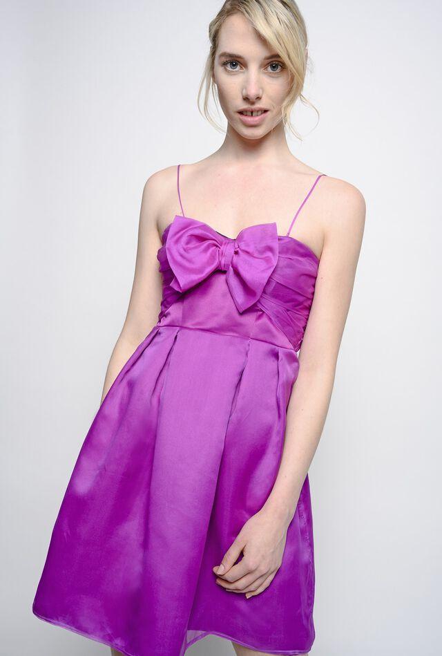 Minikleid aus Seidenorganza mit Schleife