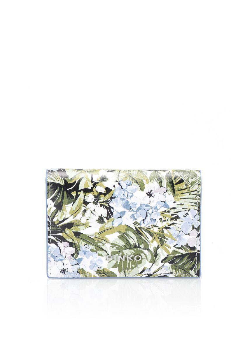 Porta carte in pelle con stampa floreale