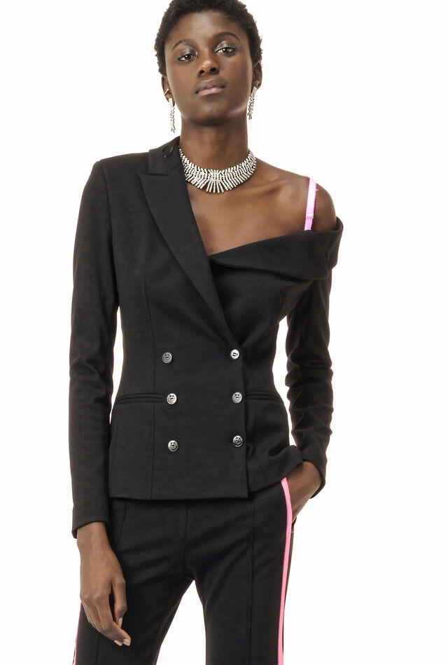 Double-breasted asymmetric jacket