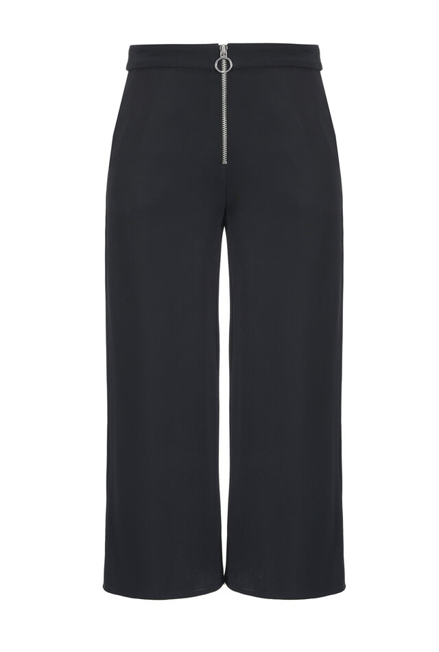 Wide double-layer crepe trousers