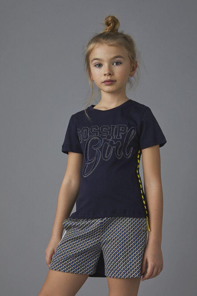 Rhinestone print jersey T-shirt