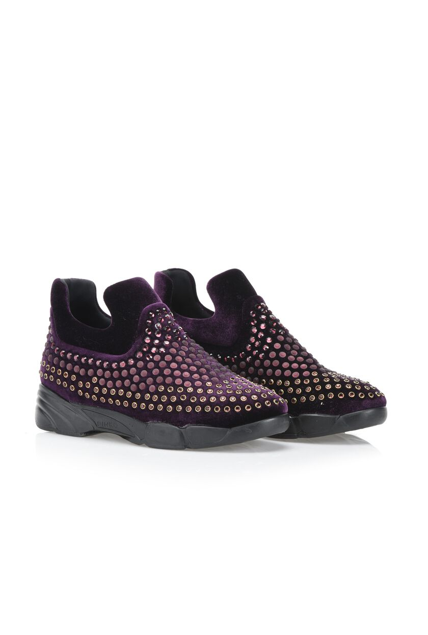 Sneaker in velluto stretch e strass