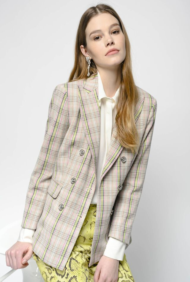 Decorated cotton crepe blazer