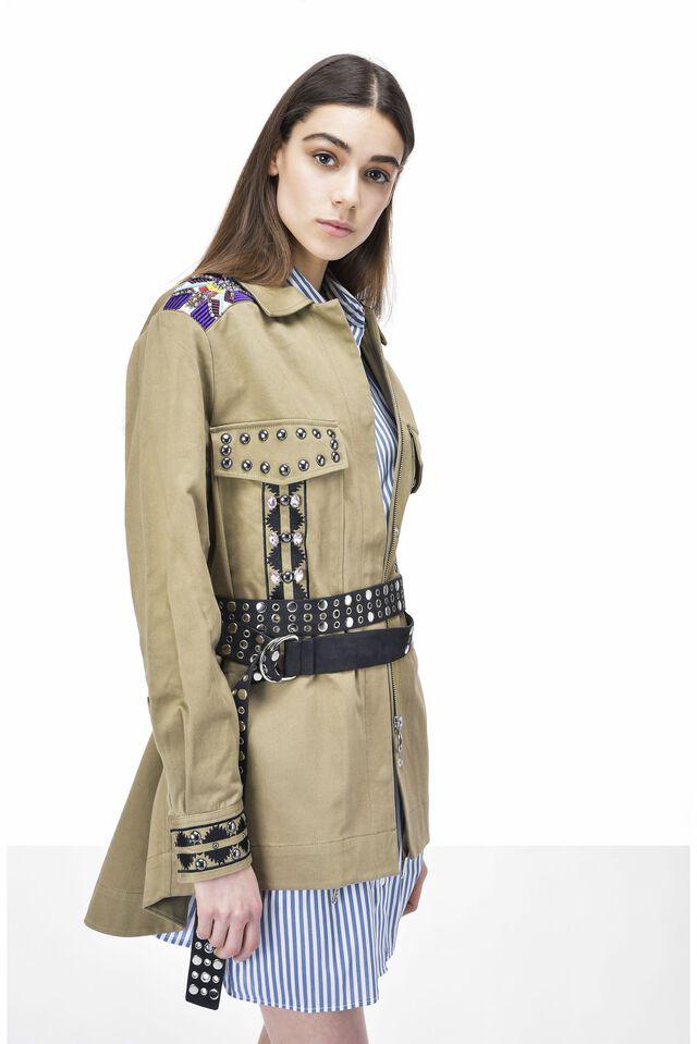 Stretch satin jacket with appliqués