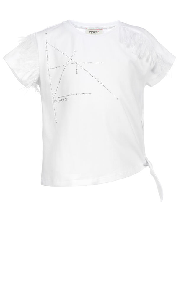 Stretch jersey t-shirt with embroidery work and feathers