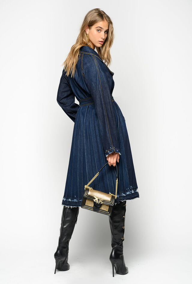 Trench in denim rigido