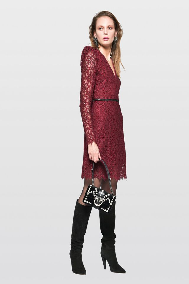 Dress in floral rebrodé lace