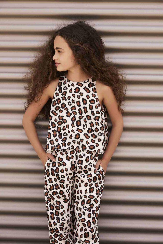 Jumpsuit in leopard print twill