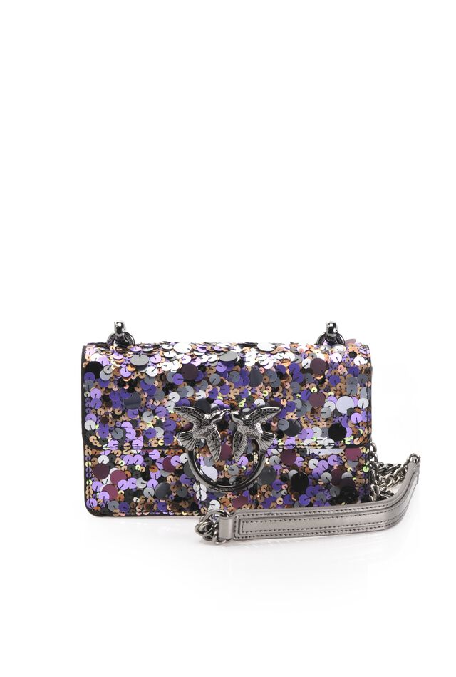 Mini Love Bag in leather with sequins