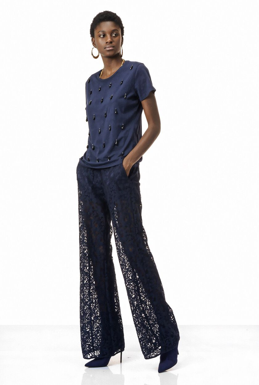 Lightweight cotton lace trousers