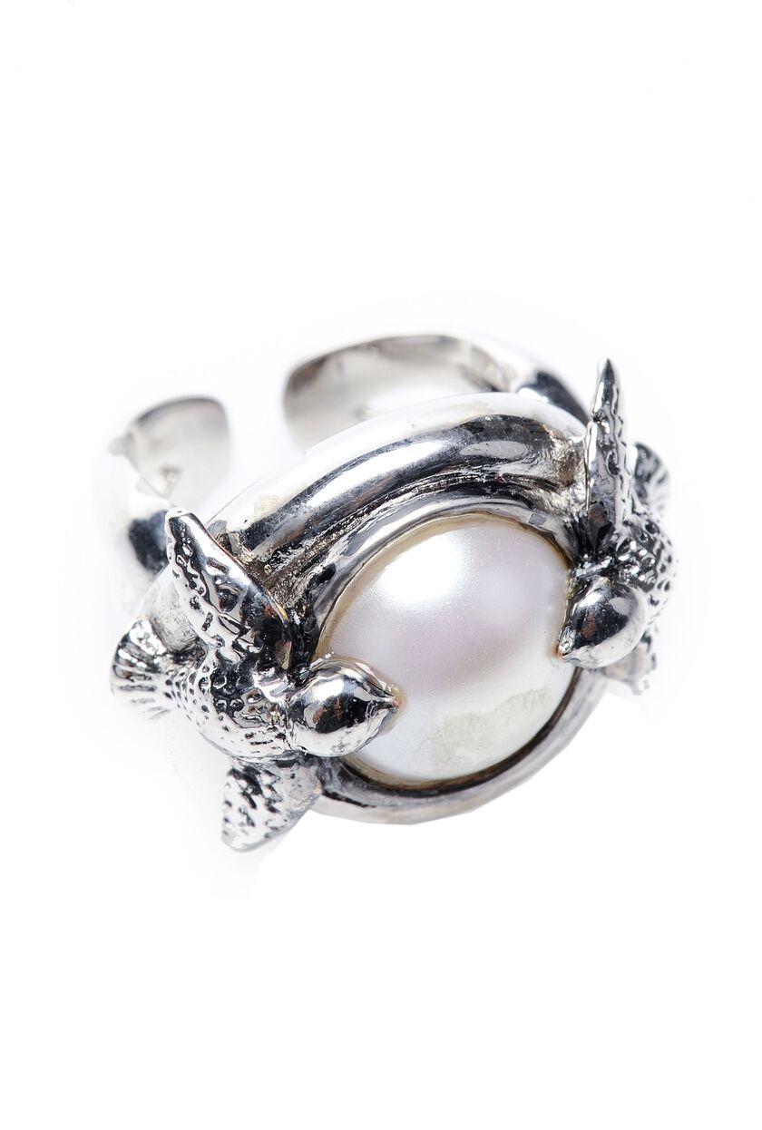 Anello in metallo con perla e rondini