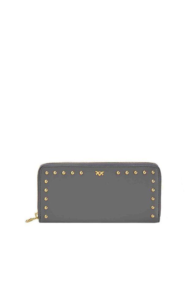 Portafoglio zip-around in pelle con borchie