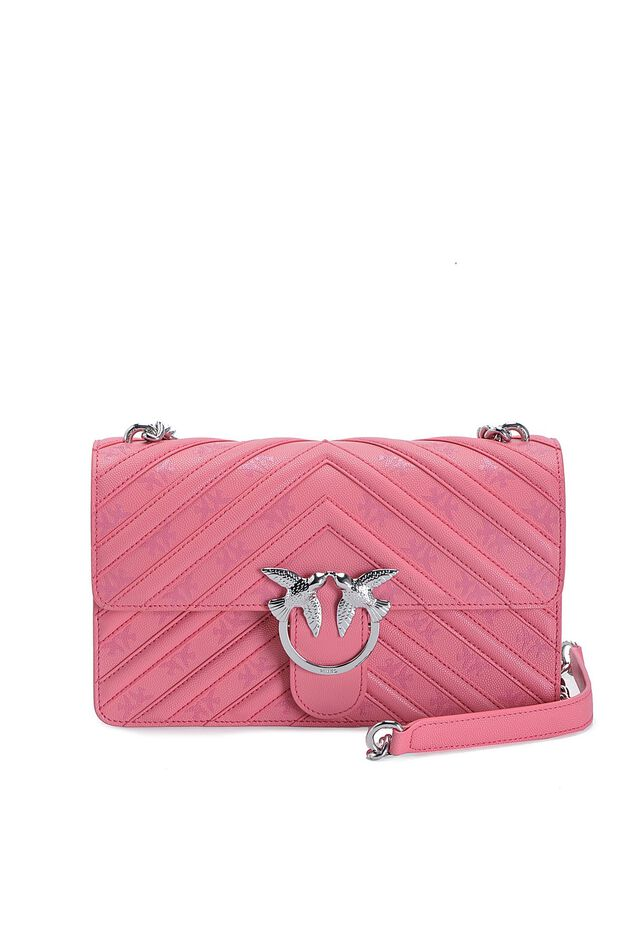 Love Bag Stripes en cuir avec imprimé Love Birds