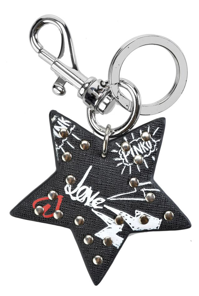 Star keyring in Saffiano leather