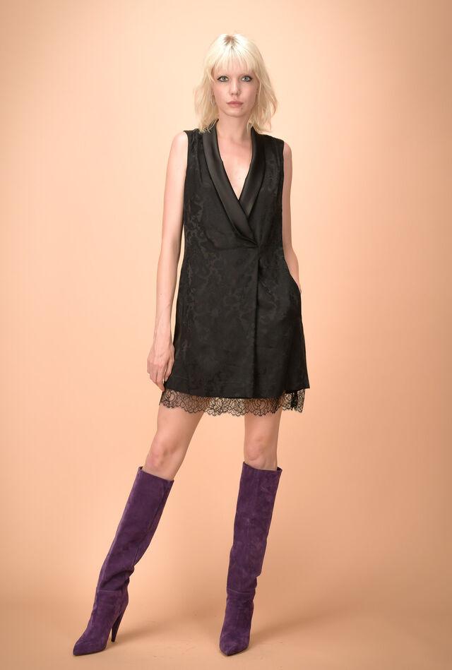 Lace trim jacquard dress