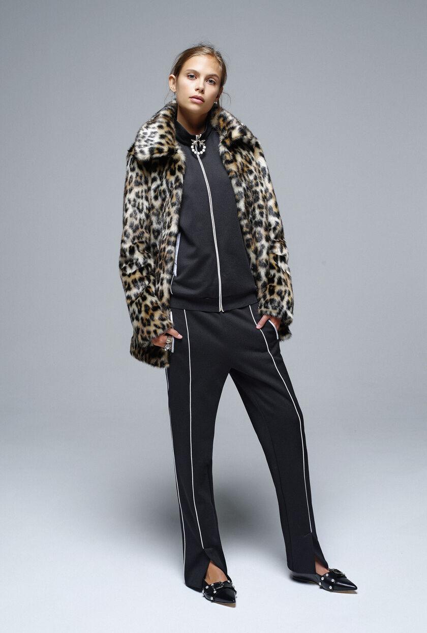 Leopard-print pea coat in faux fur