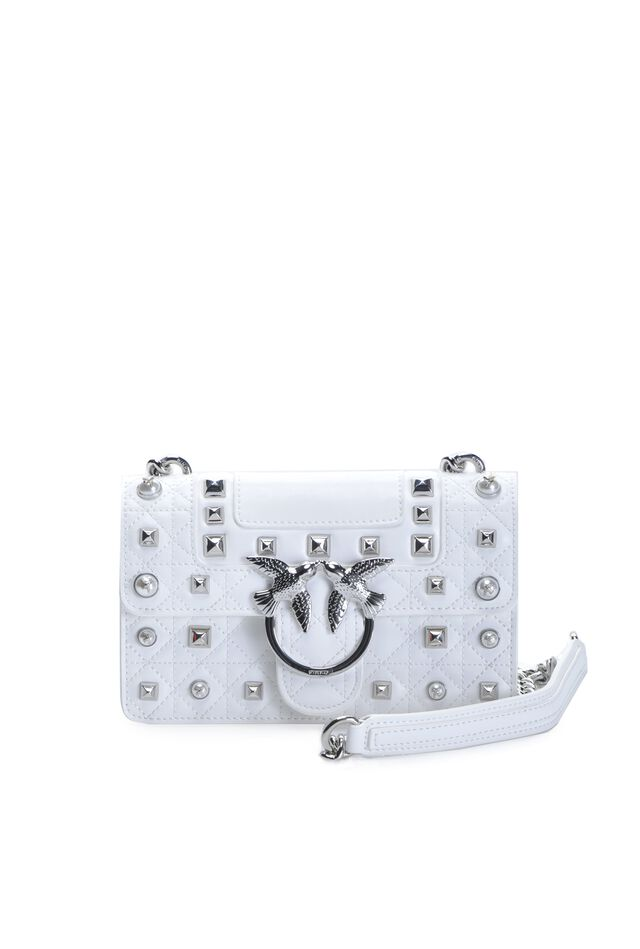 Mini Love Bag Idillio in leather with studs and pearls