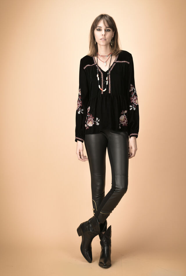 Velvet blouse with floral embroidery