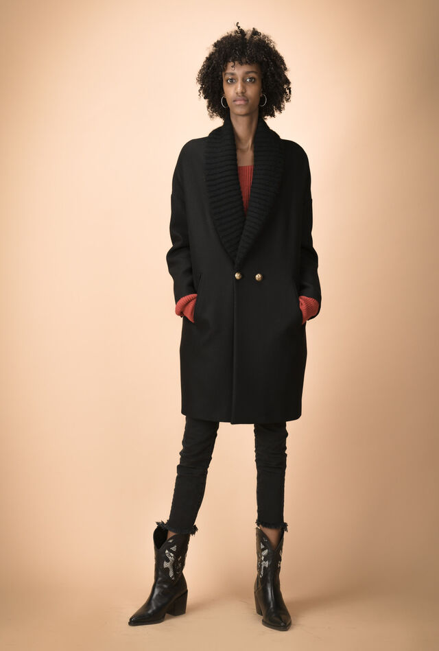Melton coat with ribbed lapels