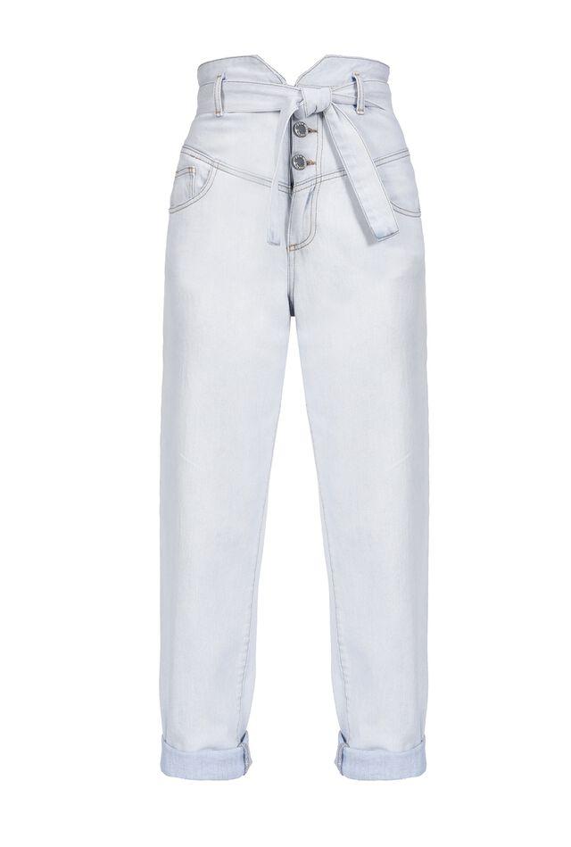 Jeans con vita alta a bustier