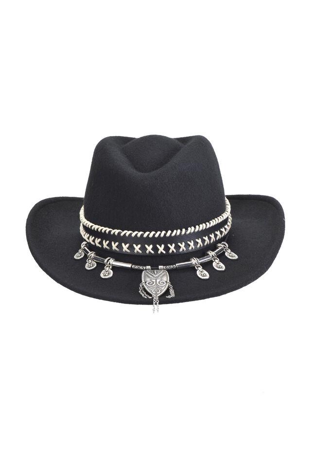 Sombrero de fieltro con banda elaborada