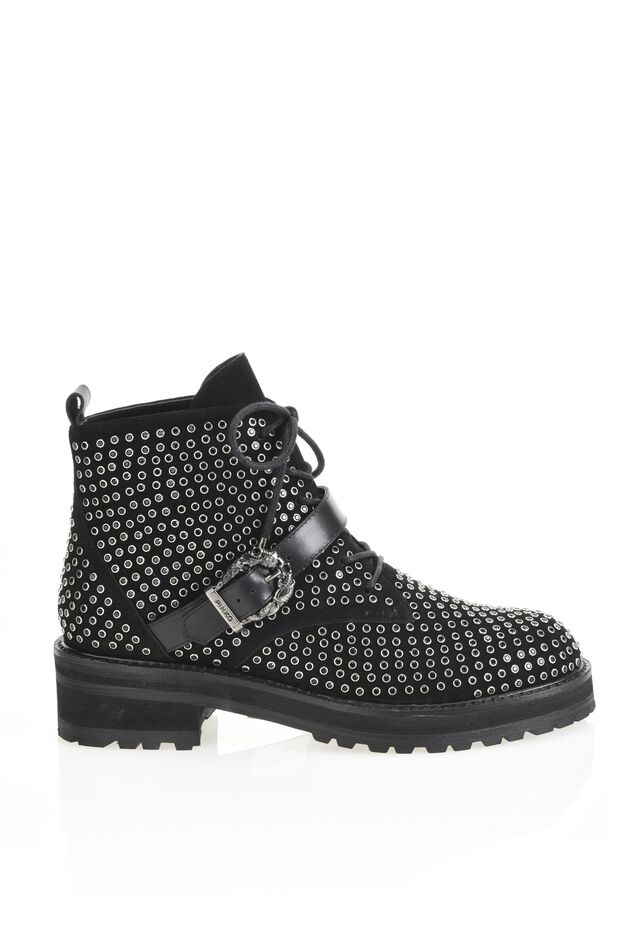 Suede leather and rhinestone ankle boots