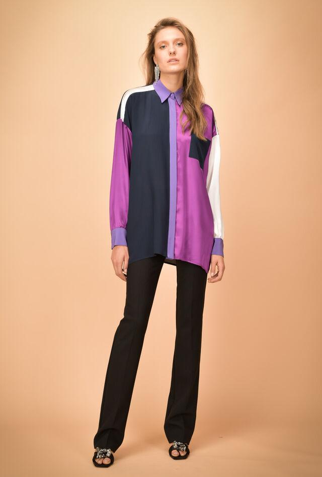 Silk-satin maxi shirt with patchwork panels