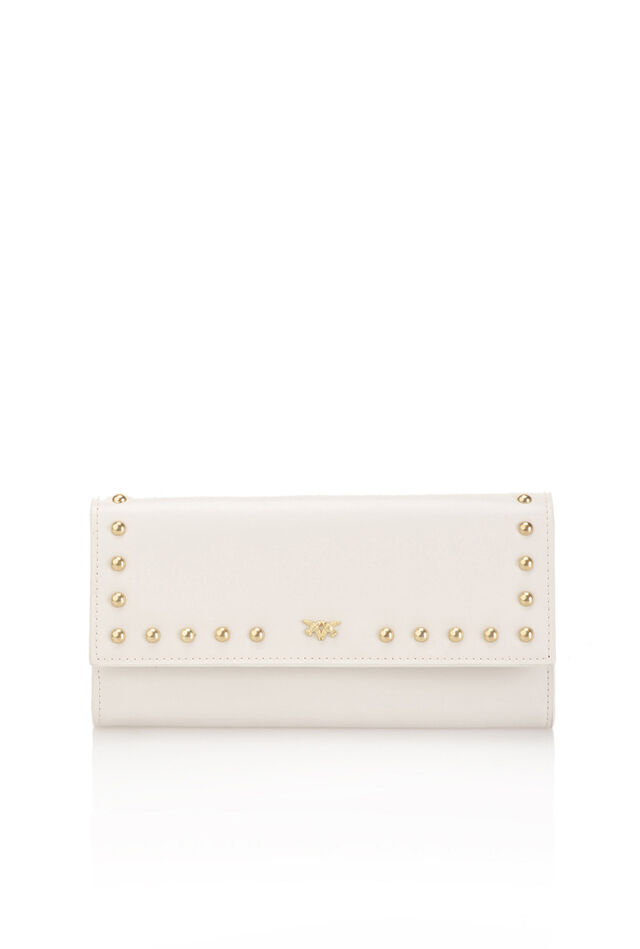 Portafoglio continental in pelle con borchie