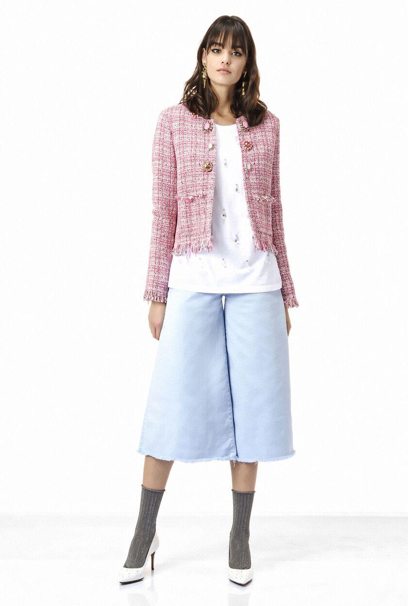Tweed jacket with jewel appliqués