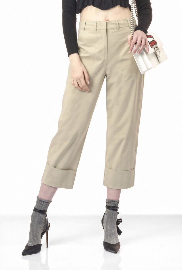 Wide-legged trousers in poplin
