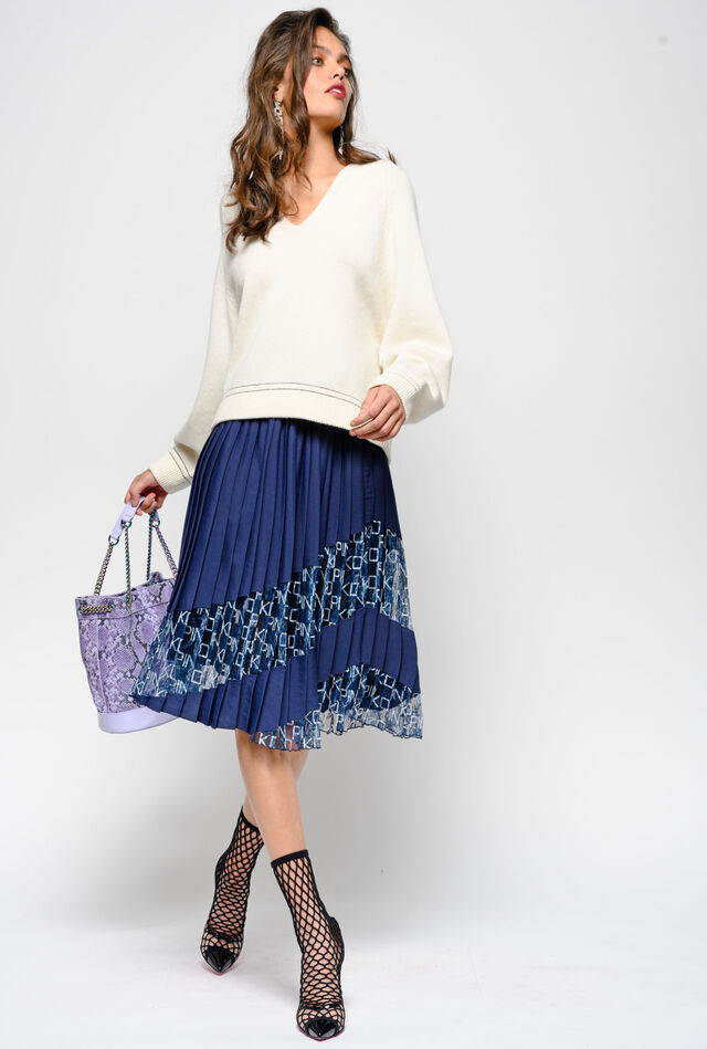 Pleated crepe de Chine and logo print lace skirt