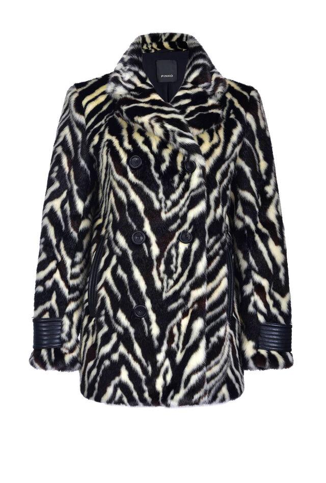 Zebra print faux fur reefer coat
