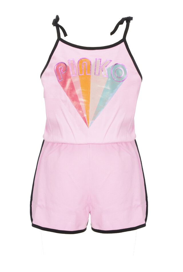 Cotton fleece short playsuit