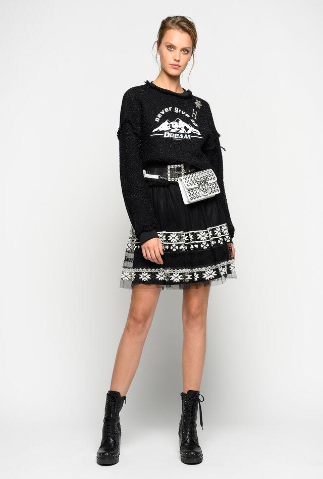 Embroidered tulle mini skirt