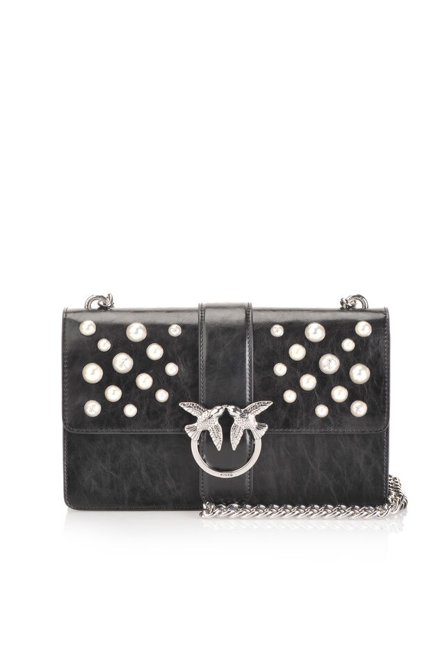 Love Bag Pearls in leather with pearls