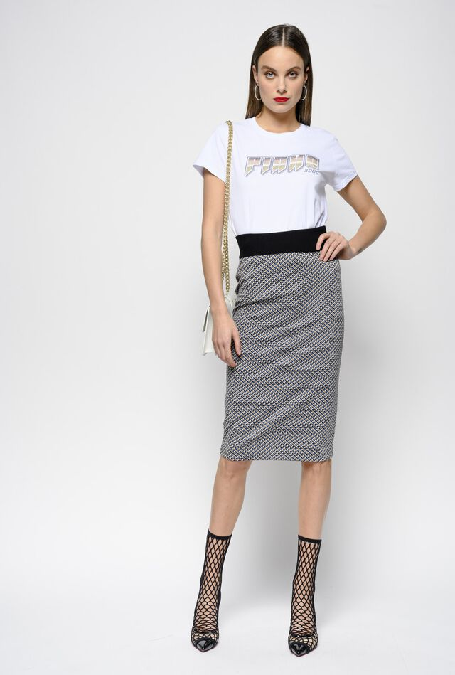 Milano stitch geometric jacquard skirt